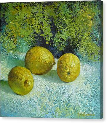 Canvas Print featuring the painting Three Lemons by Elena Oleniuc