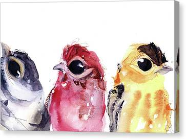 Canvas Print featuring the painting Three Little Birds by Dawn Derman