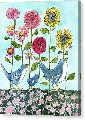 Three Little Birds Flowers Canvas Print by Blenda Studio
