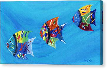 Canvas Print featuring the painting Three Little Fishy's by Jamie Frier