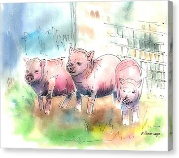 Three Little Pigs Canvas Print by Arline Wagner