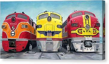 Three Locomotives Canvas Print