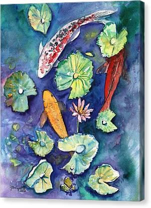 Three Lucky Koi Canvas Print by Marionette Taboniar