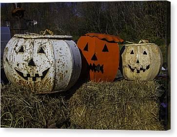 Three Metal Pumpkins Canvas Print