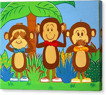 Three Monkeys No Evil Canvas Print