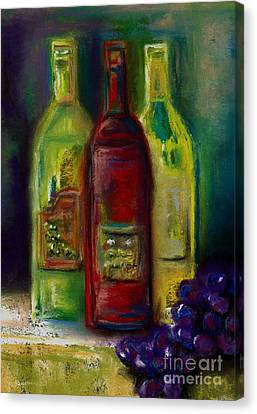 Three More Bottles Of Wine Canvas Print by Frances Marino