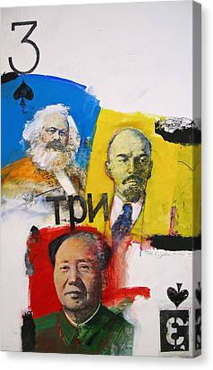 Canvas Print featuring the painting Three Of Spades 43-52 by Cliff Spohn