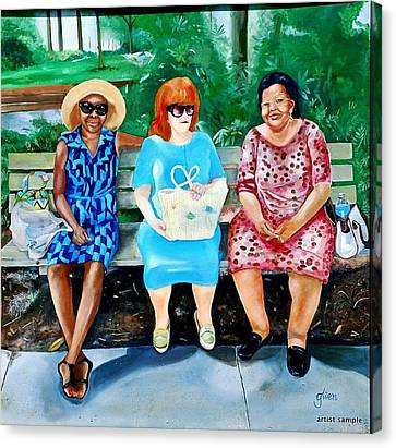 Three On A Bench Canvas Print