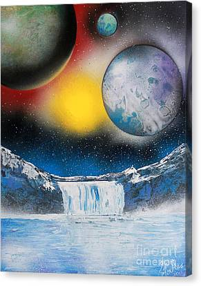 Canvas Print featuring the painting Three On Horizon by Greg Moores