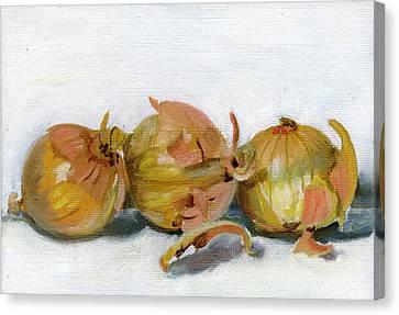 Three Onions Canvas Print by Sarah Lynch