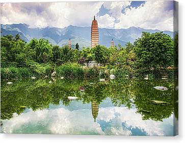 Canvas Print featuring the photograph Three Pagodas by Wade Aiken