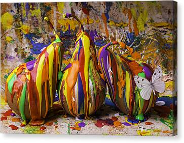 Three Painted Pears And Butterfly Canvas Print by Garry Gay