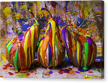 Three Painted Pears Canvas Print by Garry Gay