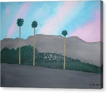 Three Palm Trees In The Desert Canvas Print by Harris Gulko