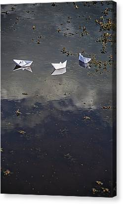 Toy Boat Canvas Print - Three Paper Boats by Joana Kruse
