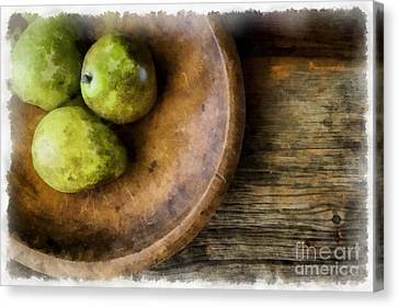 Wooden Bowls Canvas Print - Three Pear Still Life by Edward Fielding