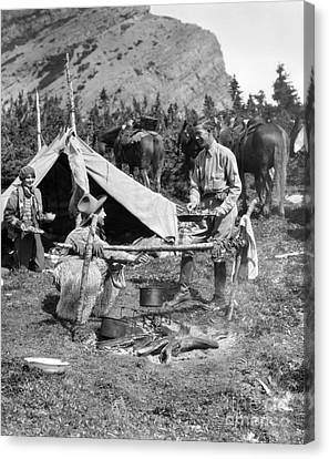 Three People Camping, C.1920-30s Canvas Print by H. Armstrong Roberts/ClassicStock
