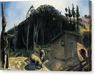 Three Pigs And A Mountain Canvas Print by George Wesley Bellows