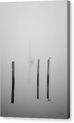 Three Pilings And Sailboat Canvas Print