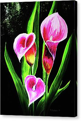 Canvas Print featuring the painting Three Pink Calla Lilies. by Patricia L Davidson