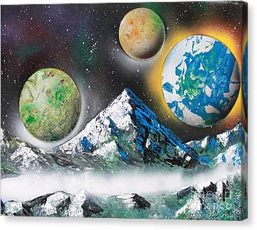 Canvas Print featuring the painting Three Planets by Greg Moores