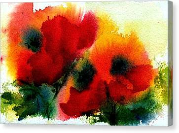 Three Poppies Canvas Print by Anne Duke