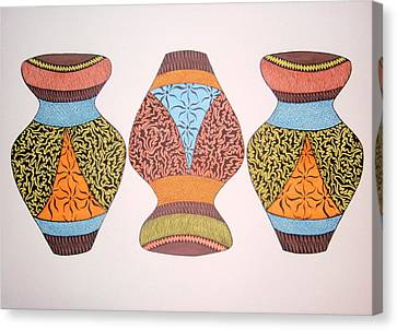 Canvas Print featuring the drawing Three Pots by Beth Akerman