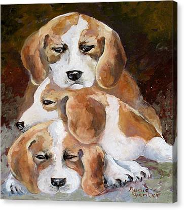 Three Puppies Canvas Print by Audie Yenter