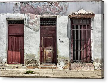 Three Red Doorways Canvas Print