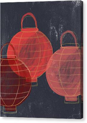 Three Red Lanterns- Art By Linda Woods Canvas Print by Linda Woods