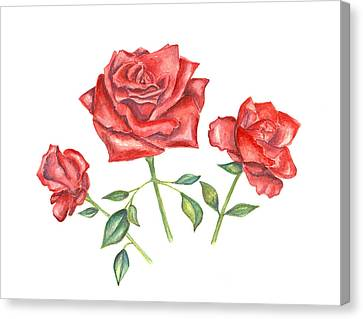 Canvas Print featuring the mixed media Three Red Roses by Elizabeth Lock