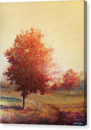 Three Red Trees Canvas Print by Andrew King