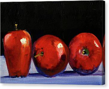 Canvas Print featuring the painting Three Reds by Nancy Merkle