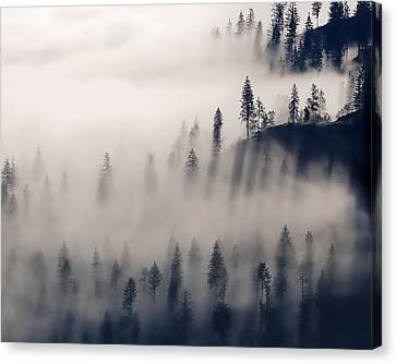 Three Ridges Fog Canvas Print by Jerry Sodorff