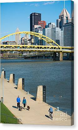 Three Rivers Heritage Trail Along The Allegheny River Pittsburgh Pennsylvania Canvas Print