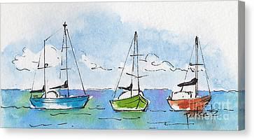 Three Sailboats Near Tahiti Canvas Print by Pat Katz