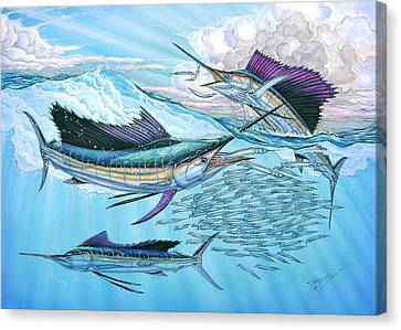 Three Sailfish And Bait Ball Canvas Print