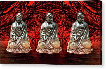 Canvas Print featuring the photograph Three Smiling Buddha by John Williams