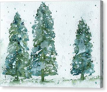 Canvas Print featuring the painting Three Snowy Spruce Trees by Dawn Derman
