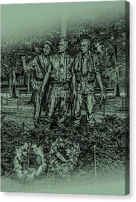 Canvas Print featuring the photograph Three Soldiers Memorial by David Morefield