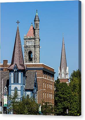 Three Steeples Of St Johnsbury Vermont Canvas Print by Tim Kirchoff