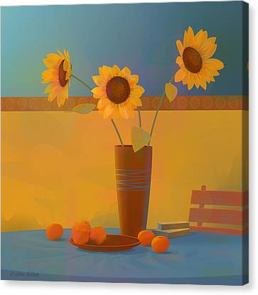 South Of France Canvas Print - Three Sunflowers by Adam Gaba