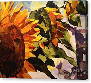 Canvas Print featuring the painting Three Sunflowers by Tim  Heimdal