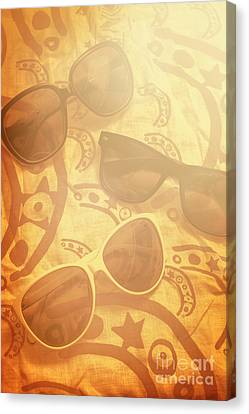 Three Sunglasses On Patterned Cloth Canvas Print by Jorgo Photography - Wall Art Gallery