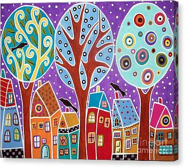 Three Trees Three Birds And Six Houses Canvas Print by Karla Gerard
