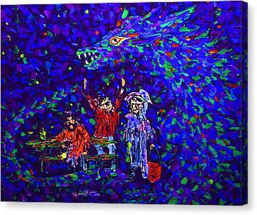 Three Trumbaniks At Parkbench With Dragon Canvas Print