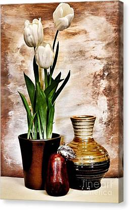Three Tulips Pottery And Pear Canvas Print