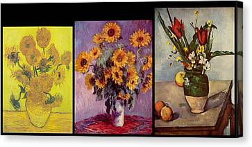Three Vases Van Gogh - Cezanne Canvas Print by David Bridburg
