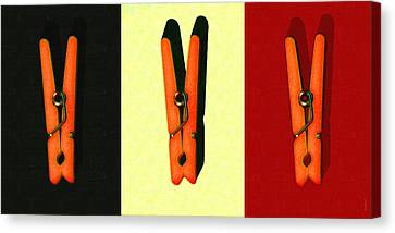 Three Whimsical Clothespins . Painterly Canvas Print by Wingsdomain Art and Photography
