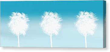 Park Scene Canvas Print - Three White Trees by Art Spectrum